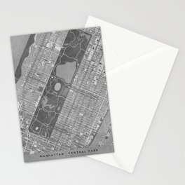 Vintage map of Manhattan Central park in gray Stationery Cards