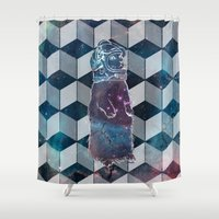 space cat Shower Curtains featuring Space Cat by Pooknuckle
