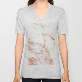 Marble - Metallic Rose Gold Marble Pattern Unisex V-Neck