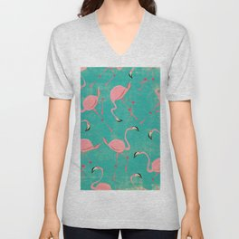 Pink Flamingo  Pattern Unisex V-Neck
