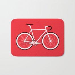 Red Fixed Gear Bike Bath Mat
