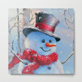 Snowman in the Woods Metal Print