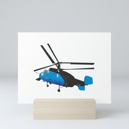 Black and Blue Helicopter Mini Art Print