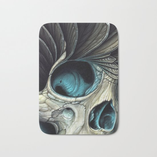 Abstract Skull & Feather Painting - Skull Art Bath Mat