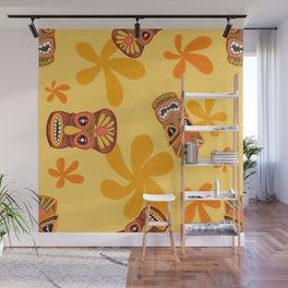 Retro Summer Tiki Room Wall Mural