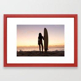 Sunrise Surfer Framed Art Print