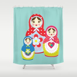 Turquoise babushka , matryoshka , russian doll , nursery decor , children gift, birthday gift Shower Curtain