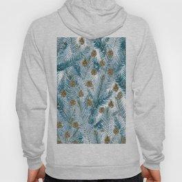 Modern brown blue watercolor pinecone tree leaves Hoody
