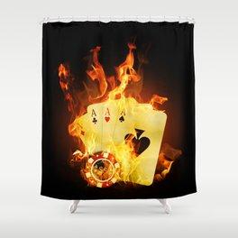 Burning Poker Cards Shower Curtain