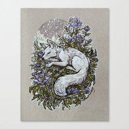 Snowfall Peonies and Arctic Fox Canvas Print