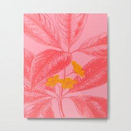 Modern Botanical Leaves in Pink Metal Print
