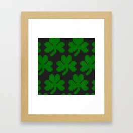 Shamrock pattern - black, green Framed Art Print