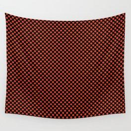 Black and Tangerine Tango Polka Dots Wall Tapestry