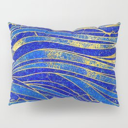 Lapis Lazuli and gold vaves pattern Pillow Sham