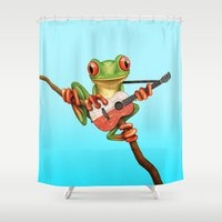 poland Shower Curtains featuring Tree Frog Playing Acoustic Guitar with Flag of Poland by Jeff Bartels