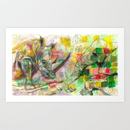 Rhinoceros Love and Friendly Observer Together! Art Print