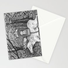 Fox riding moose Stationery Cards