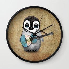 Baby Penguin Playing Guatemalan Flag Acoustic Guitar Wall Clock