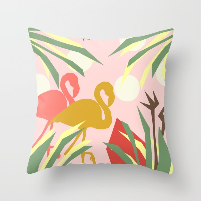 Flamingo jungle pink coral Throw Pillow