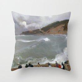 Joaquín Sorolla y Bastida, Breakwater, San Sebastian, 1918 Throw Pillow