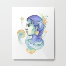 Mermaid Woman With Jellyfish Metal Print