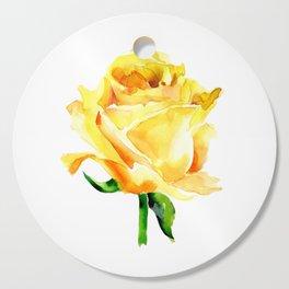 Single Yellow Rose Watercolour Painting Cutting Board