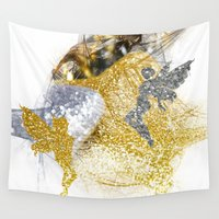 fairies Wall Tapestries featuring Glitter Fairies by haroulita