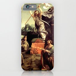 "Giovanni Antonio Boltraffio ""The Resurrection of Christ with the Saint Leonard of Noblac and Lucia"" iPhone Case"