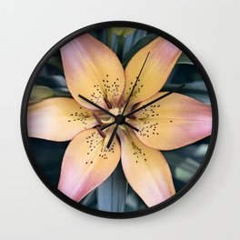 Lily Flower Photography, Pink Peach Lilies Flowers, Nature Botanical Photography Wall Clock