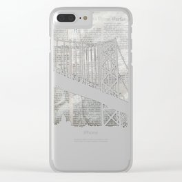 Paper City, Newspaper Bridge Collage Clear iPhone Case
