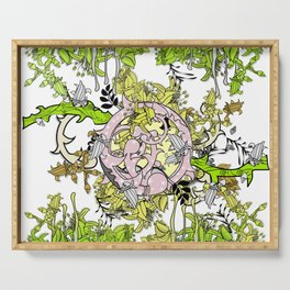 Lost world in enchanted forest Serving Tray