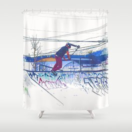 Spinning the Deck - Trick Scooter Sports Art Shower Curtain