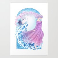 the last unicorn Art Prints featuring Last Unicorn by Roots-Love