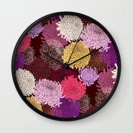Autumn garden of chrysanthemums Wall Clock