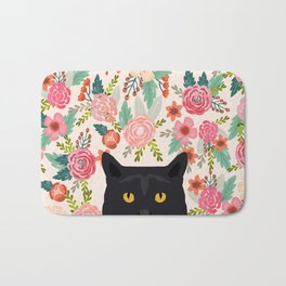 Black Cat cat breed floral pattern background pet gifts cats kitten mom gifts Bath Mat