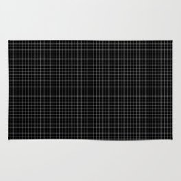 Simple black and white grid lines pattern Rug