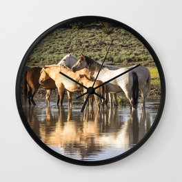 Reflection of a Mustang Family Wall Clock