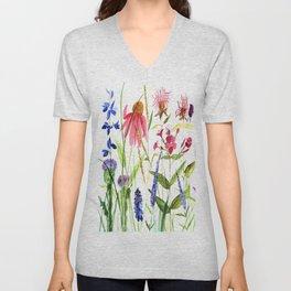 Botanical Colorful Flower Wildflower Watercolor Illustration Unisex V-Neck
