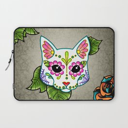 White Cat - Day of the Dead Sugar Skull Kitty Laptop Sleeve