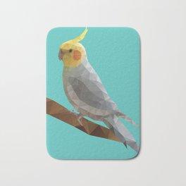 Yellow Cockatiel Bird Polygon Art Bath Mat