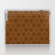 Brown wood texture geometric cubes and stars Laptop & iPad Skin