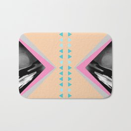 Peachy with Blue Triangles Bath Mat