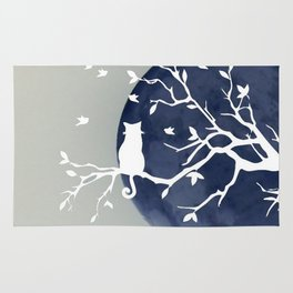 Blue moon   Dark moon   Cat on tree branch   Witchy cat   Wicca Rug