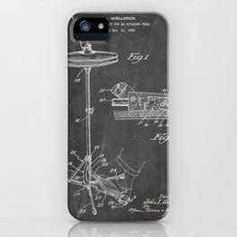 Hi Hat Drum Patent - Drummer Art - Black Chalkboard iPhone Case
