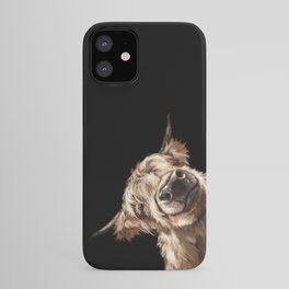 Sneaky Highland Cow in Black iPhone Case
