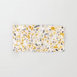 Terrazzo memphis vintage mustard yellow white grey black Hand & Bath Towel