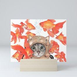Scuba Cat Among the Fishes Mini Art Print