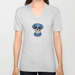 Cute Puppy Dog with flag of Honduras Unisex V-Neck