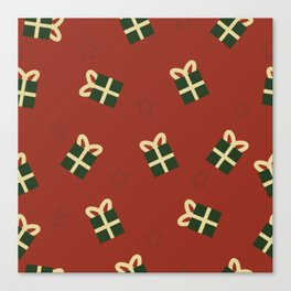 Gifts and stars - red and green Canvas Print