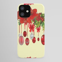 RED CHRISTMAS ORNAMENTS &  POINSETTIAS HOLIDAY ART iPhone Case